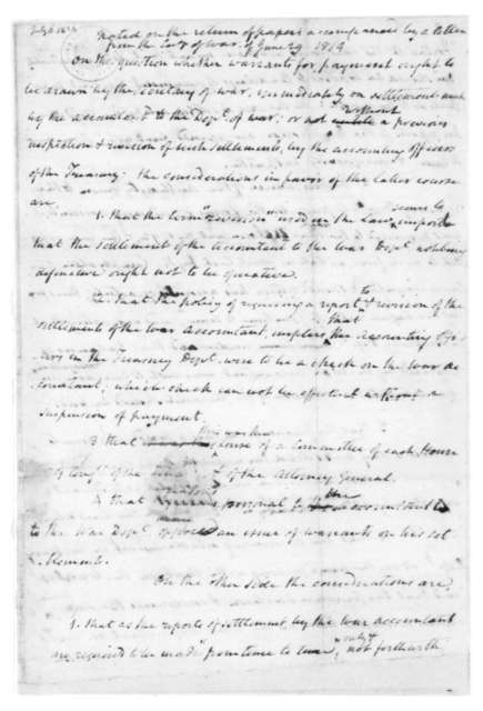 James Madison, July 6, 1814. Notes-Armstrong Cor, Warrants for Payment.