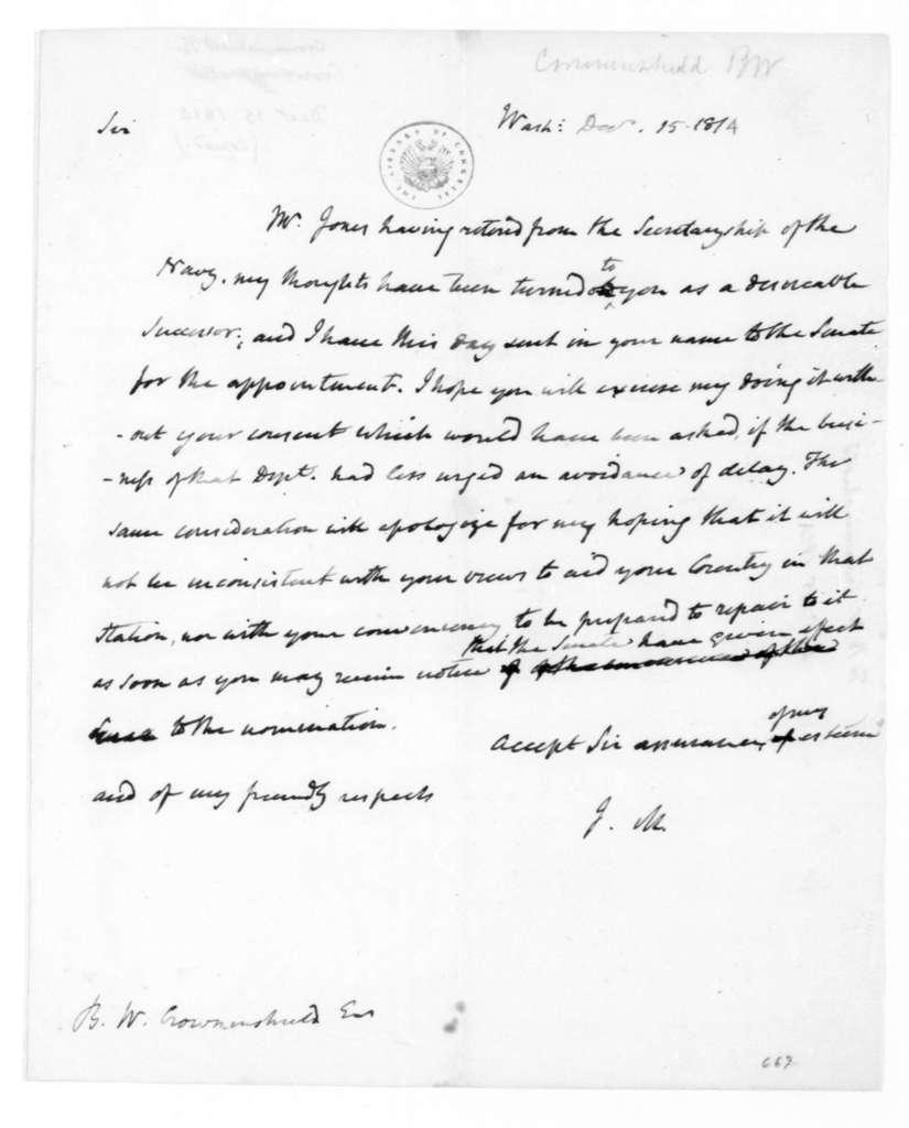 James Madison to Benjamin W. Crowninshield, December 15, 1814.