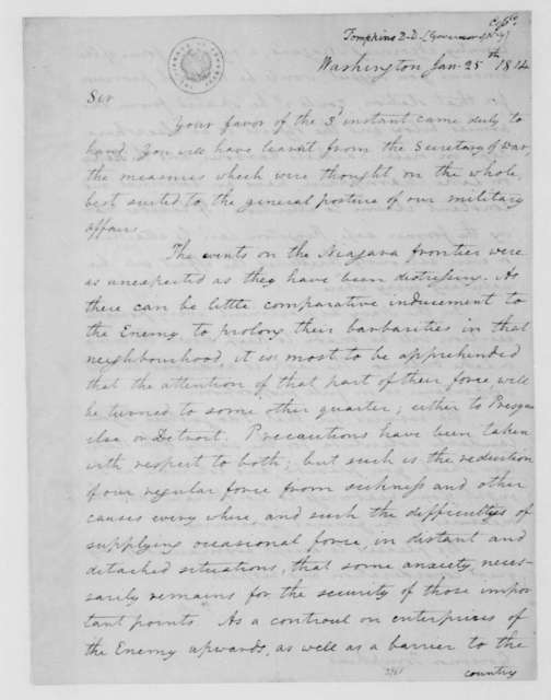 James Madison to Daniel D. Tompkins, January 25, 1814.