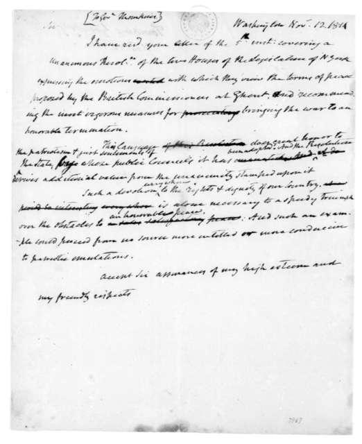 James Madison to Daniel D. Tompkins, November 12, 1814.