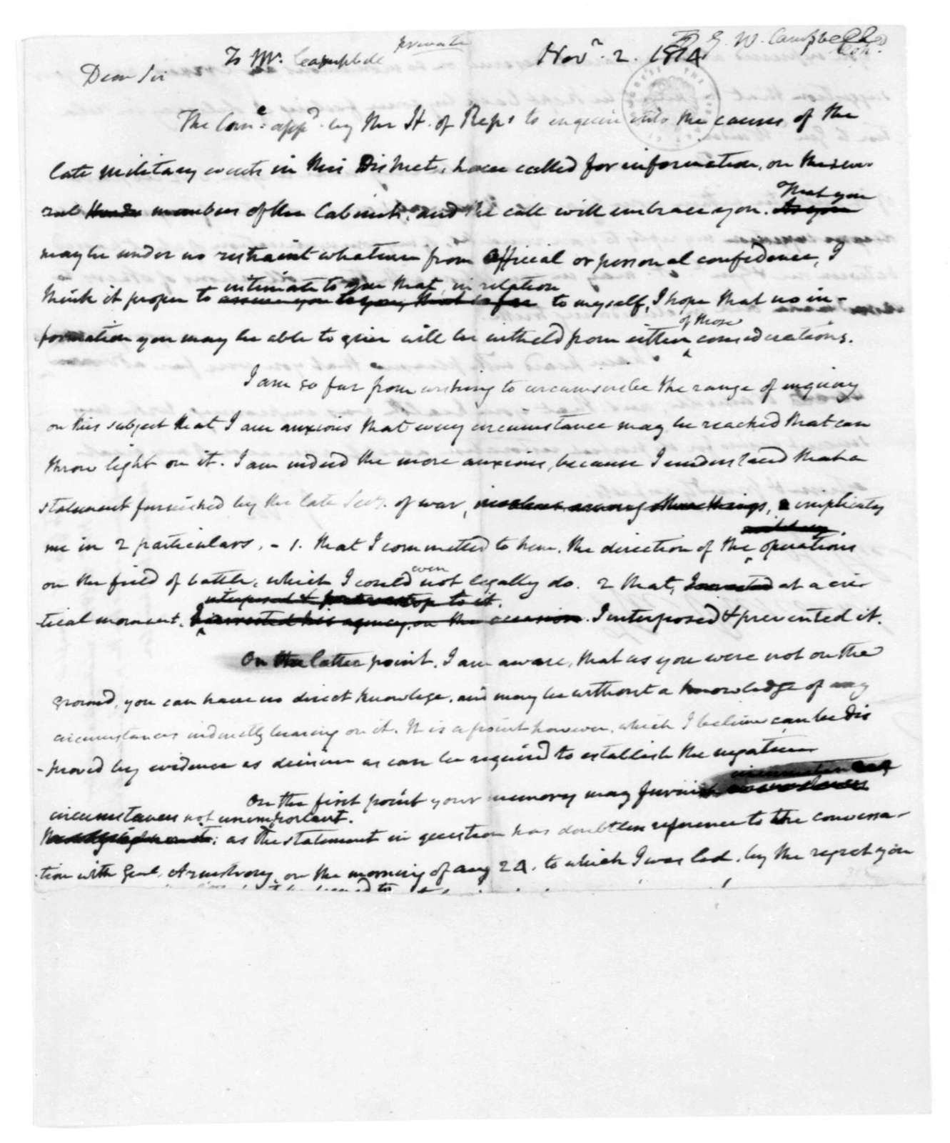 James Madison to George W. Campbell, November 2, 1814.
