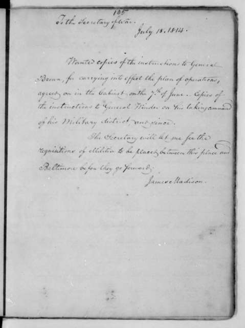 James Madison to John Armstrong, July 18, 1814.