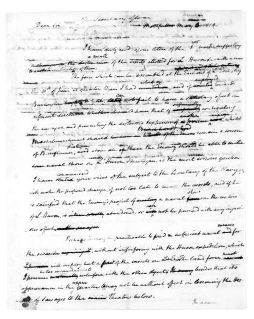 James Madison to William Jones, May 4, 1814. Includes James Madison to John Armstrong, May 4, 1814 on verso.