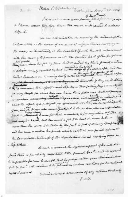 James Madison to Wilson C. Nicholas, November 25, 1814.