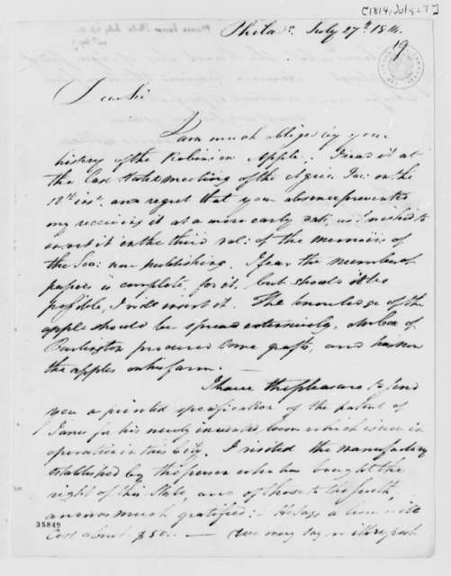 James Mease to Thomas Jefferson, July 27, 1814