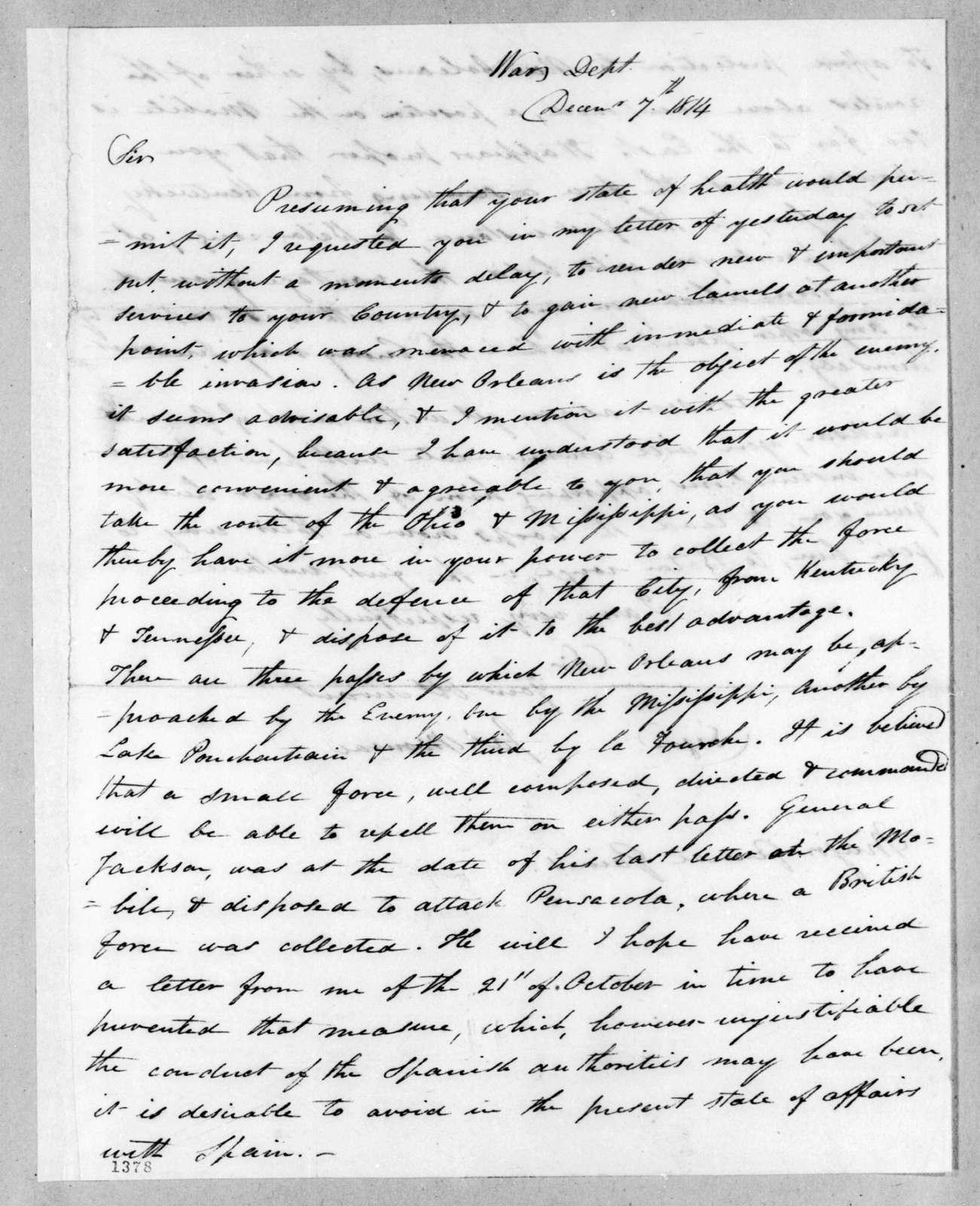 James Monroe to Andrew Jackson, December 7, 1814