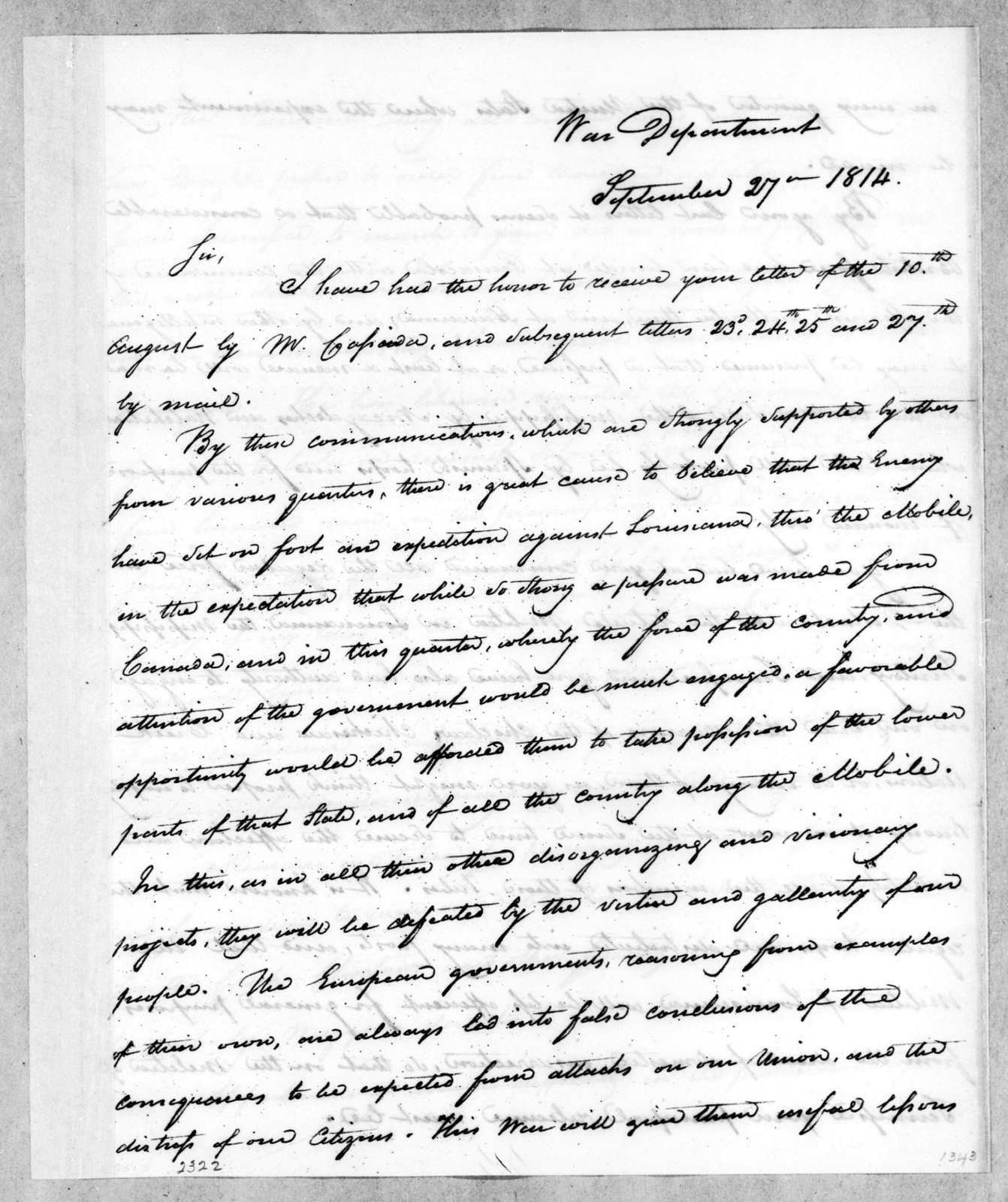 James Monroe to Andrew Jackson, September 27, 1814