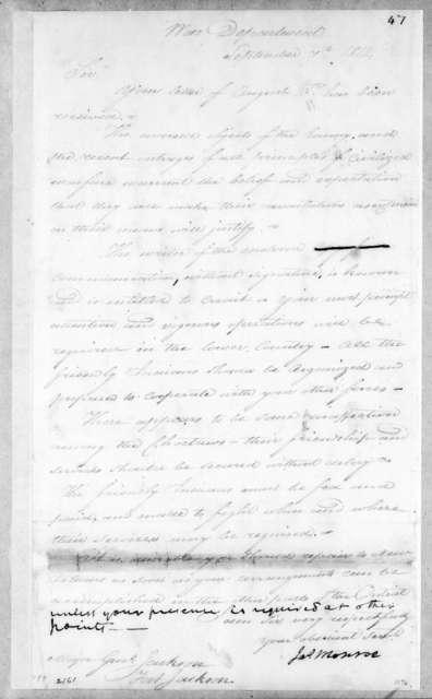 James Monroe to Andrew Jackson, September 7, 1814