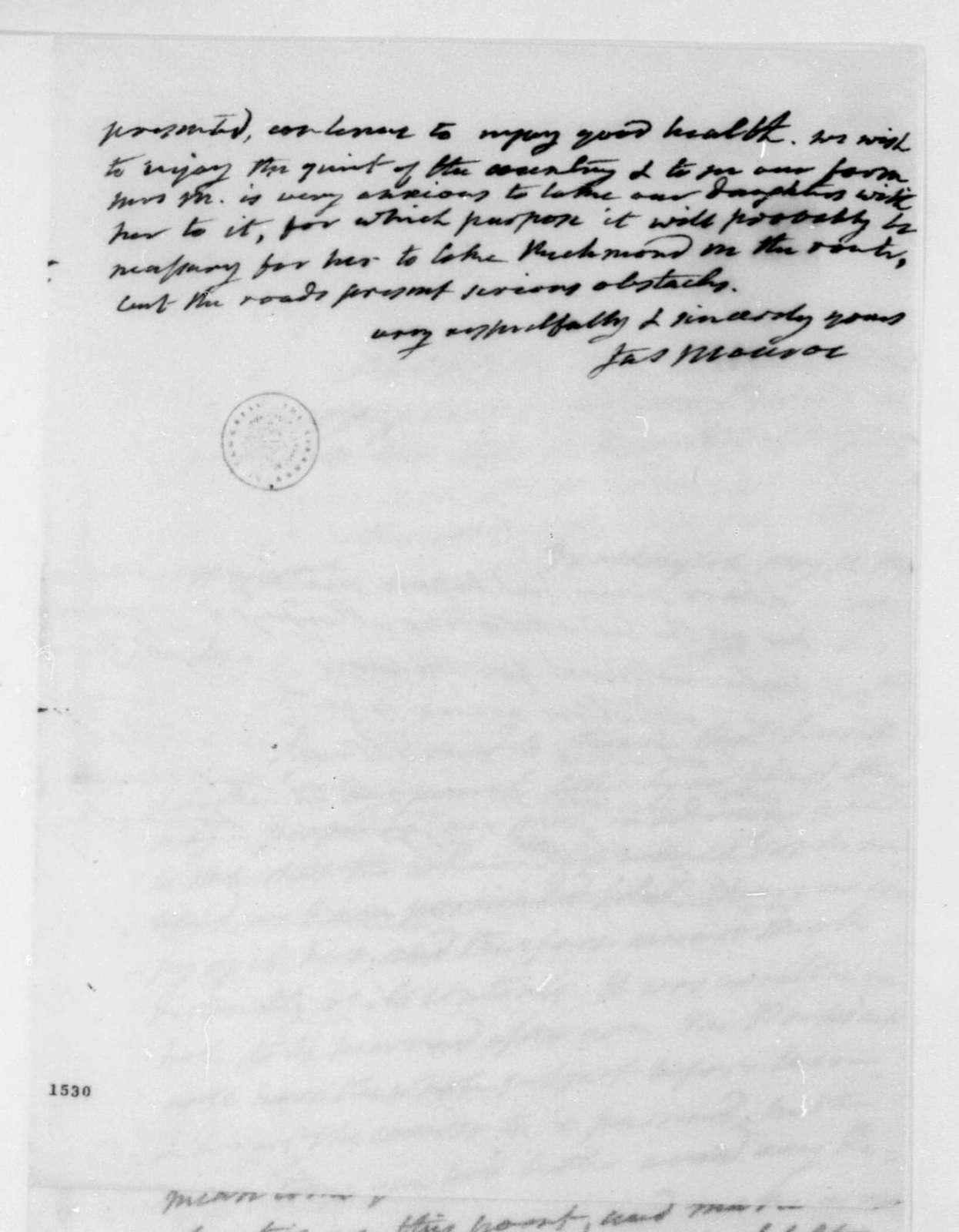 James Monroe to James Madison, May 11, 1814.