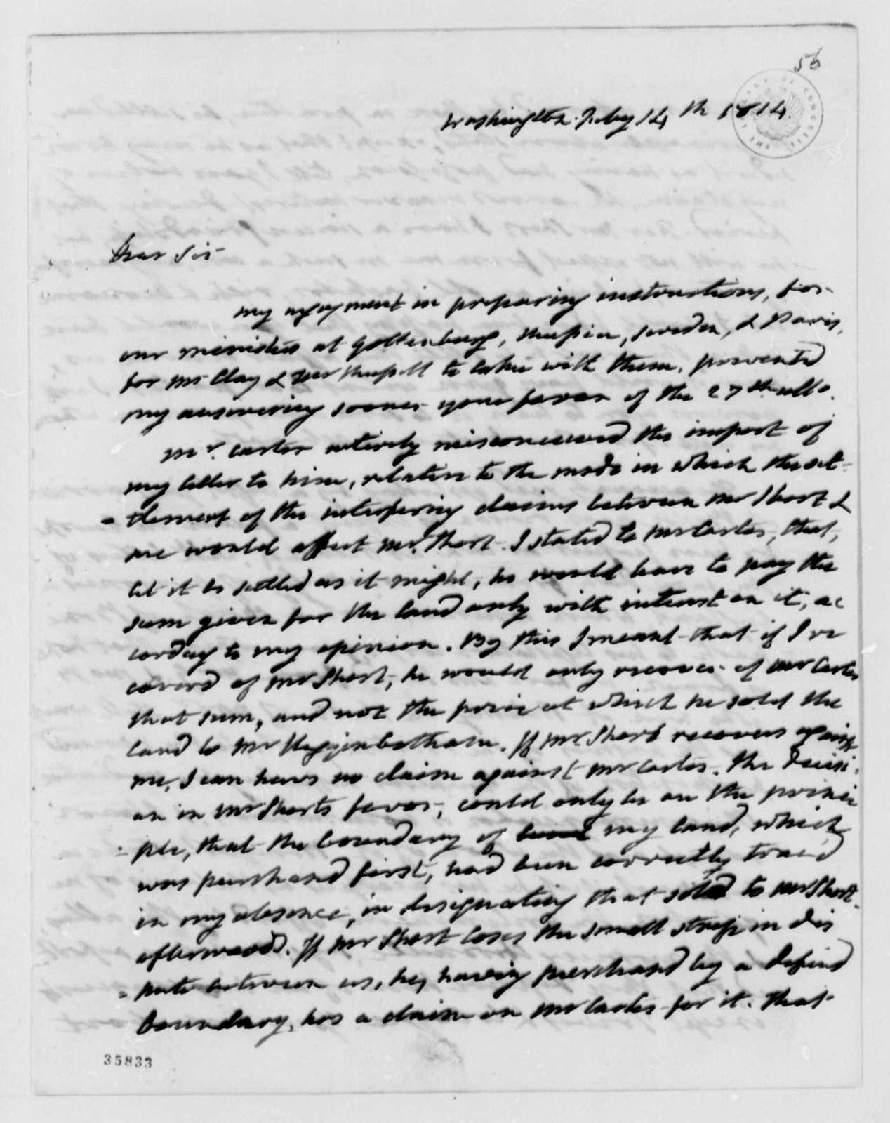 James Monroe to Thomas Jefferson, July 14, 1814