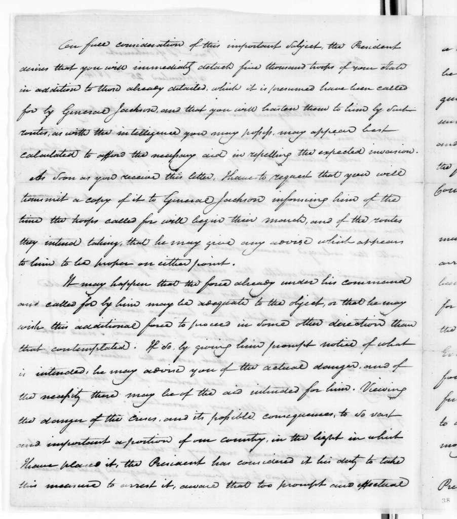 James Monroe to Willie Blount, September 25, 1814