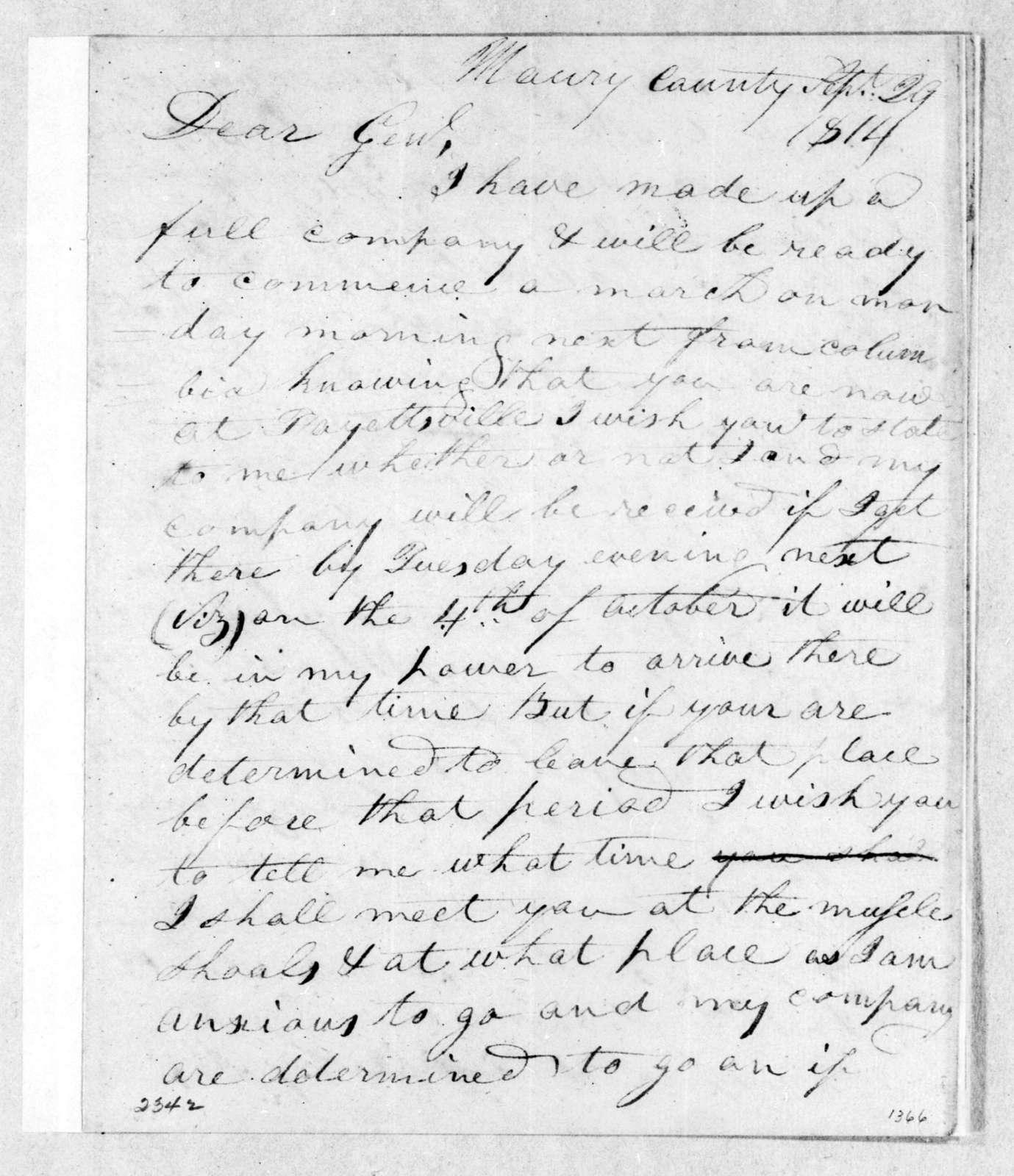 James W. Mahon to John Coffee, September 29, 1814