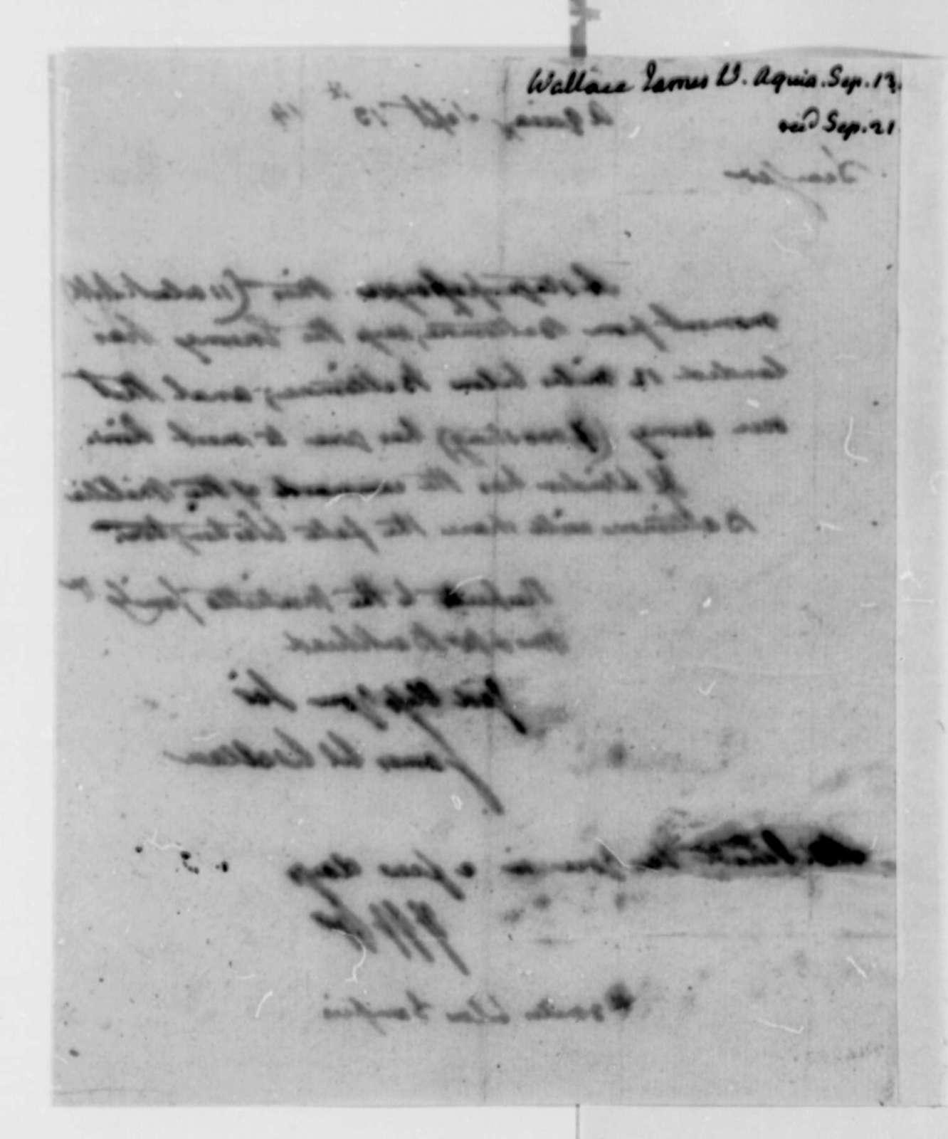 James W. Wallace to Thomas Jefferson, September 13, 1814