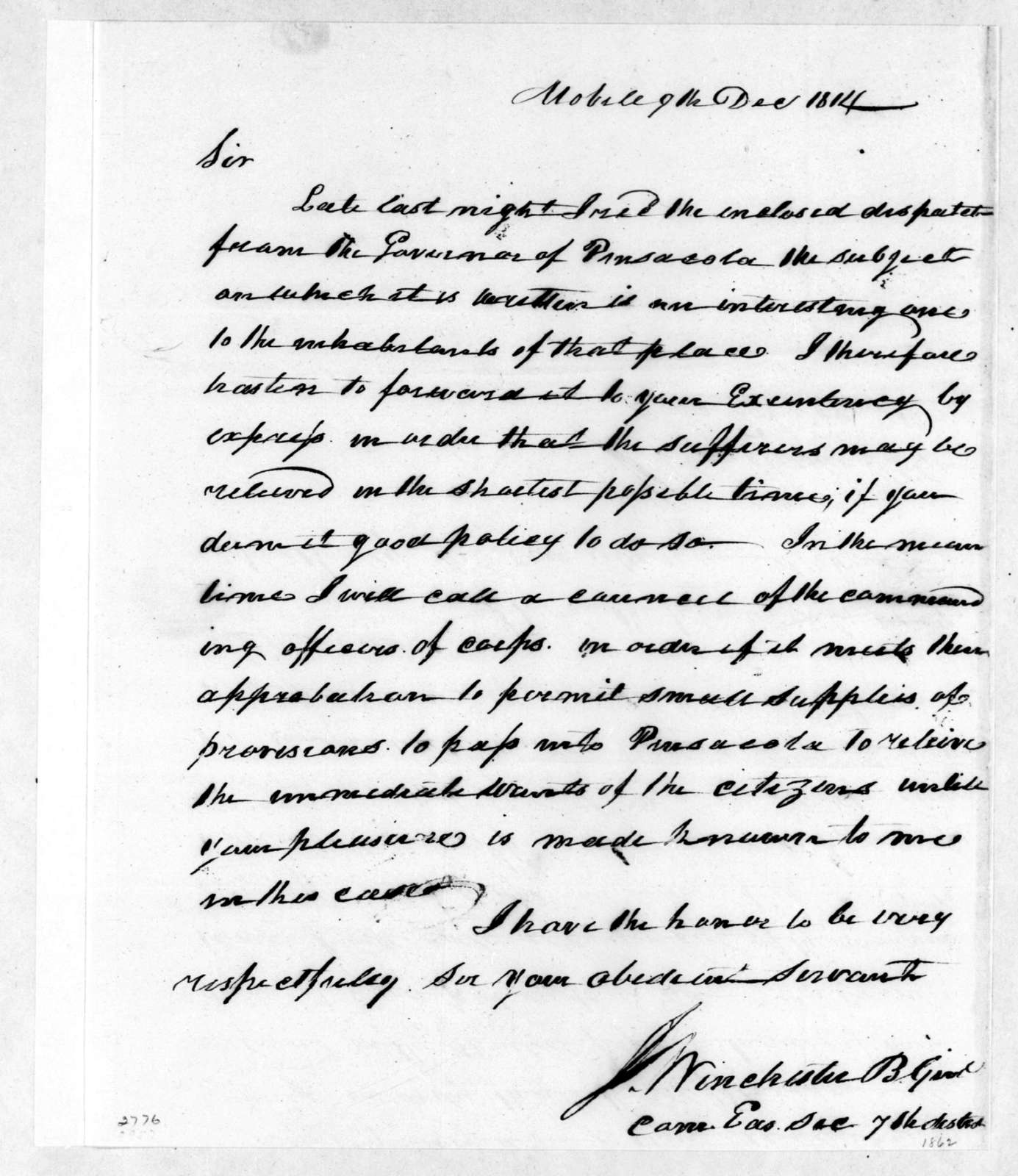 James Winchester to Andrew Jackson, December 9, 1814
