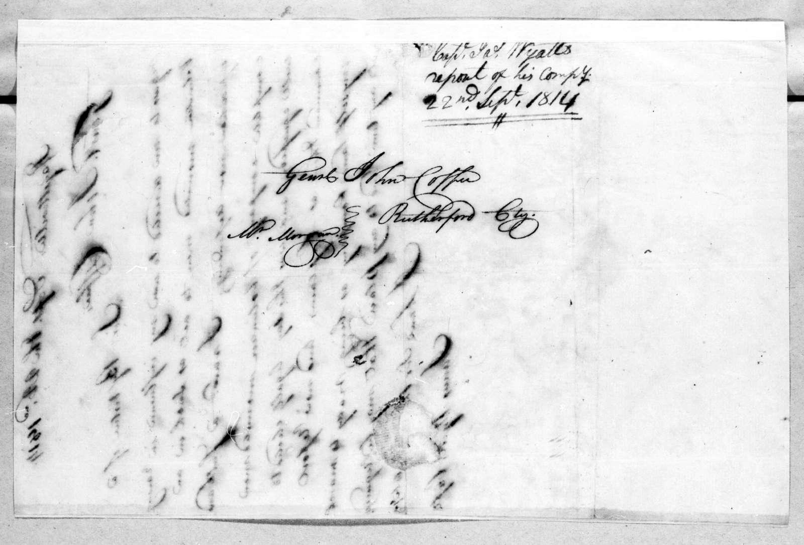 James Wyatt to John Coffee, September 22, 1814