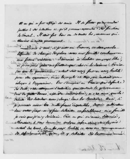 Jean Baptiste Say to Thomas Jefferson, August 22, 1814, in French