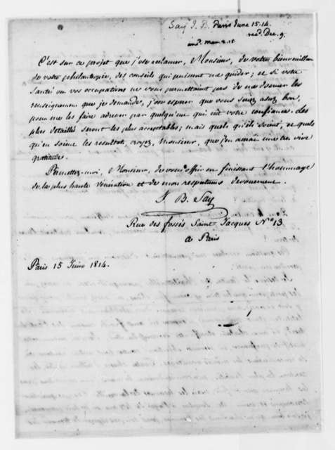 Jean Baptiste Say to Thomas Jefferson, June 15, 1814, in French