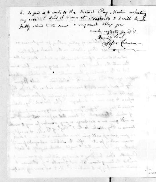Jesse Denson to Andrew Jackson, November 5, 1814