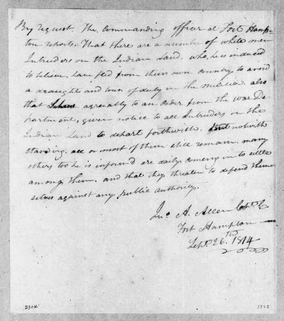 John A. Allen, September 26, 1814