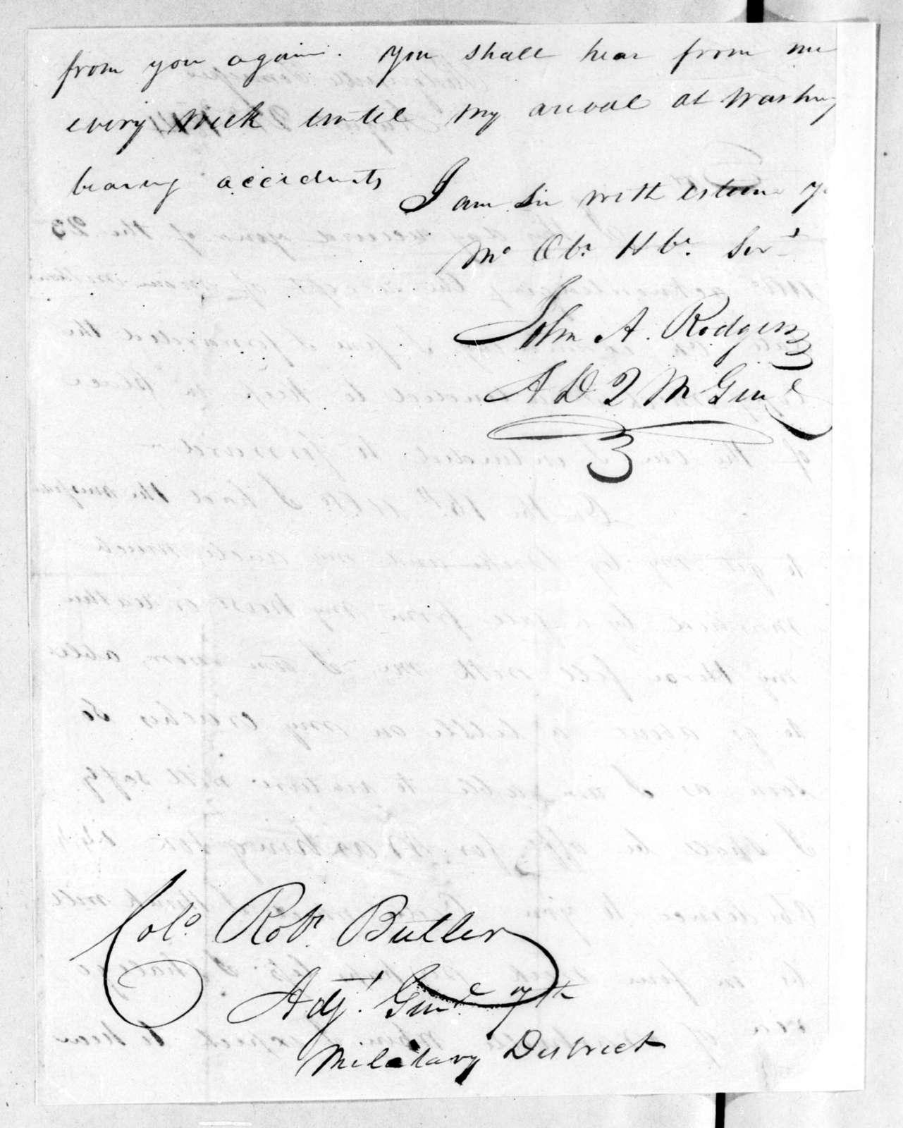 John A. Rogers to Robert Butler, August 22, 1814