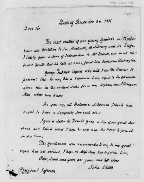 John Adams to Thomas Jefferson, December 20, 1814