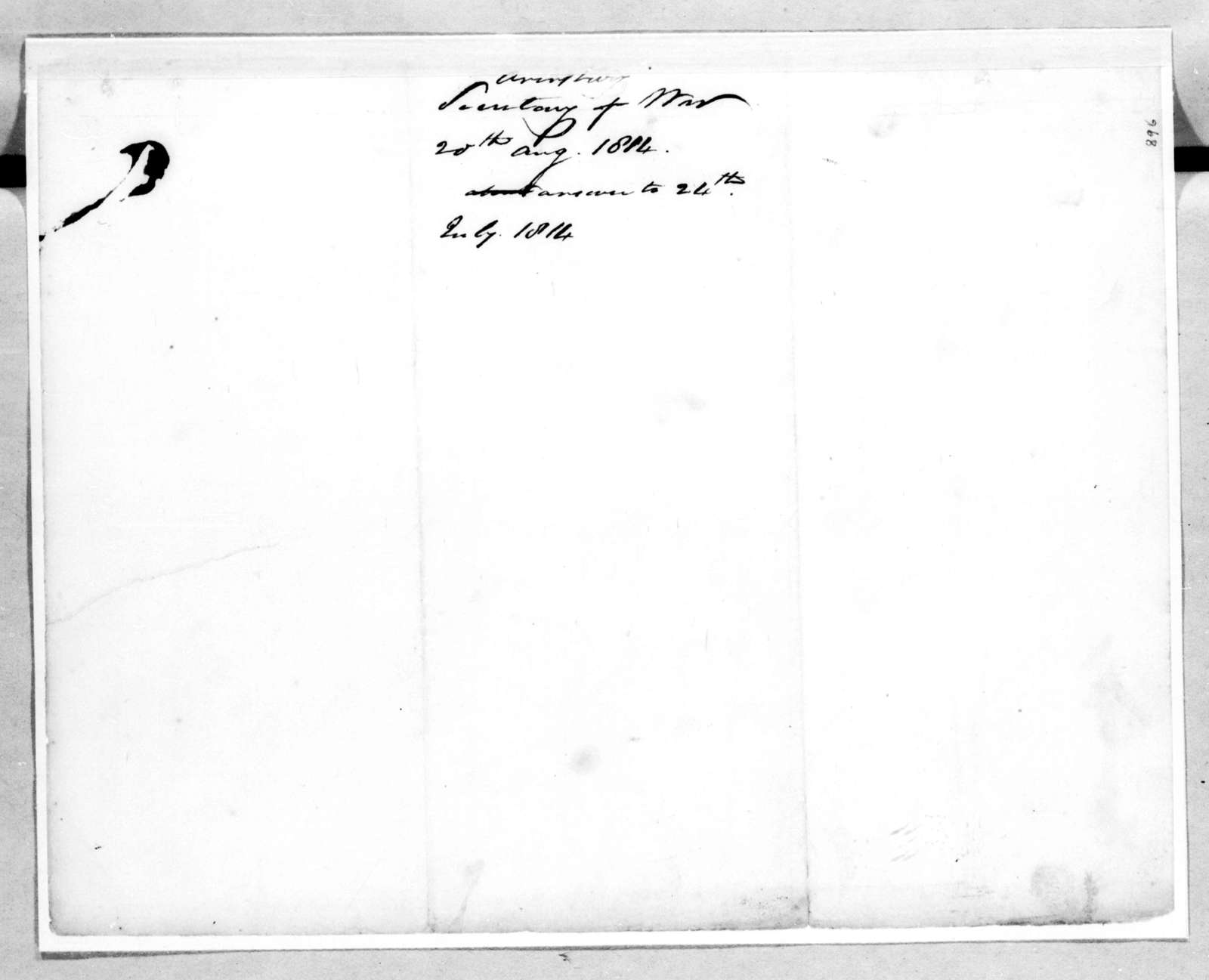 John Armstrong to Andrew Jackson, August 20, 1814
