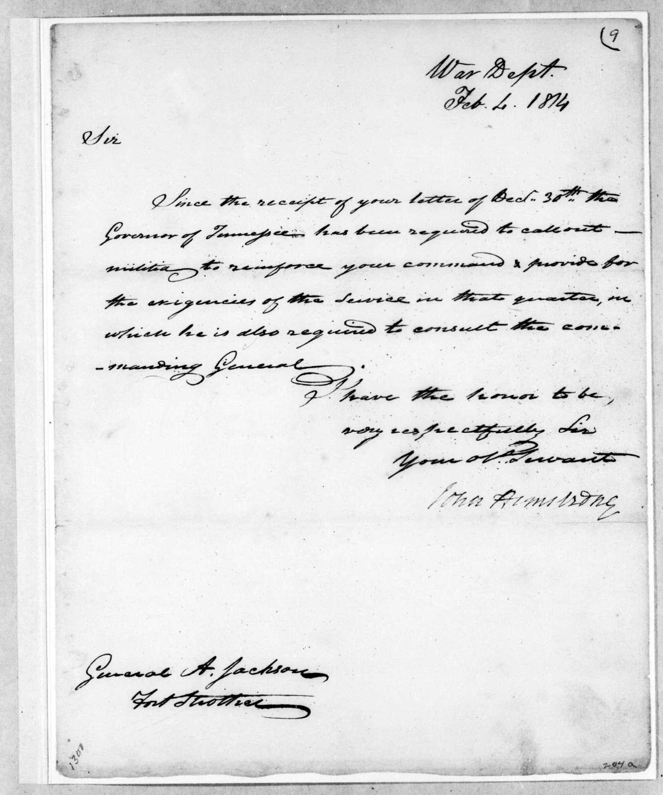John Armstrong to Andrew Jackson, February 4, 1814