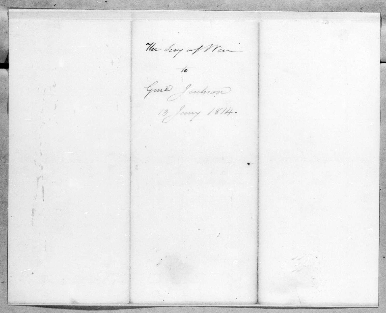 John Armstrong to Andrew Jackson, January 13, 1814