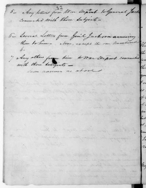John Armstrong to Andrew Jackson, May 21, 1814. List of letters stating the appoinments of General Andrew Jackson.