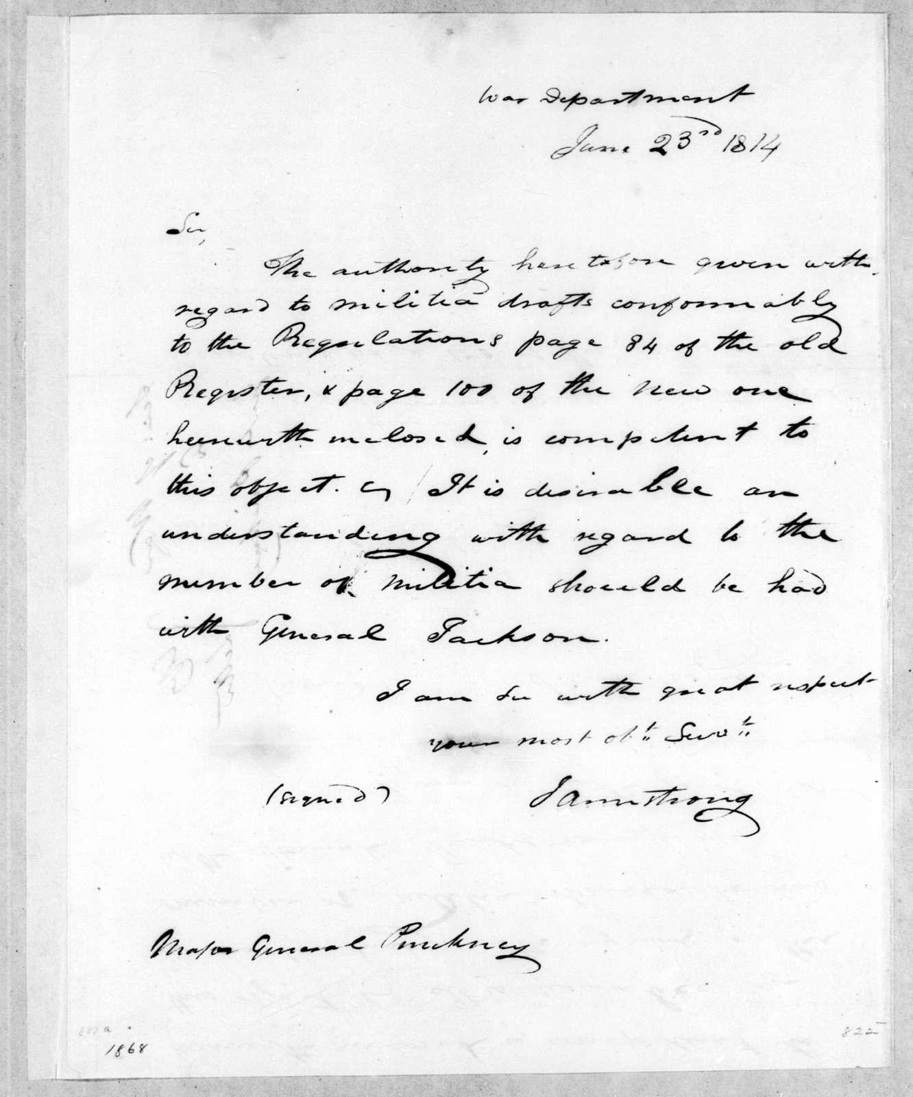 John Armstrong to Thomas Pinckney, June 23, 1814