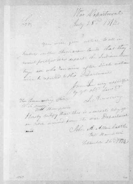 John Armstrong to Unknown, July 28, 1814