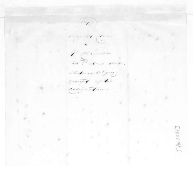 John Armstrong to William Henry Harrison, May 24, 1814. With Extract.