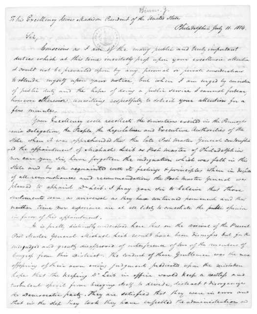 John Binns to James Madison, July 11, 1814.