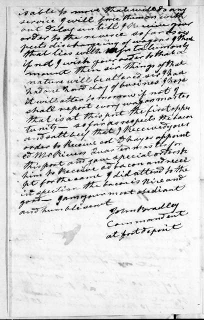 John Bradley to Andrew Jackson, April 6, 1814