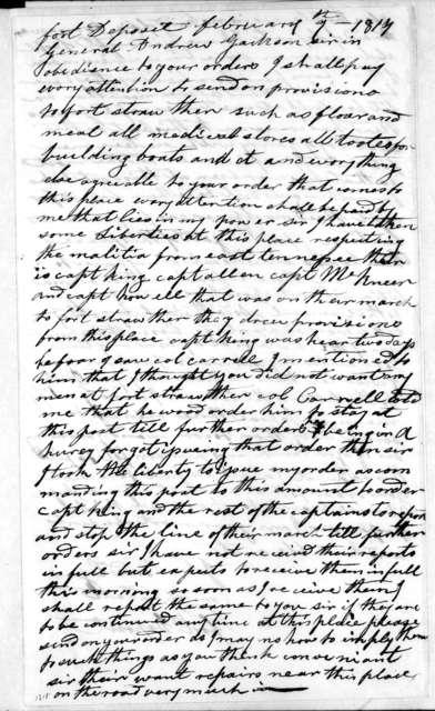 John Bradley to Andrew Jackson, February 9, 1814