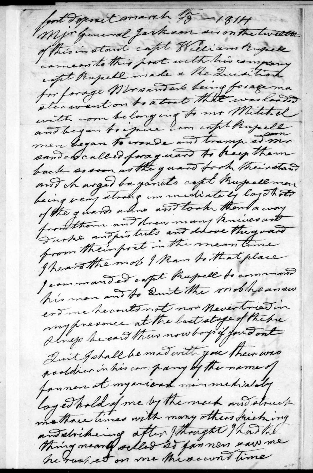 John Bradley to William Russell, March 13, 1814