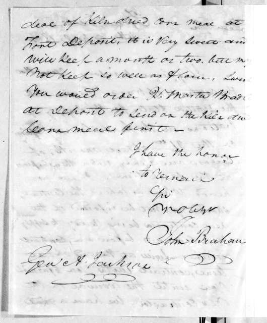 John Brahan to Andrew Jackson, April 4, 1814