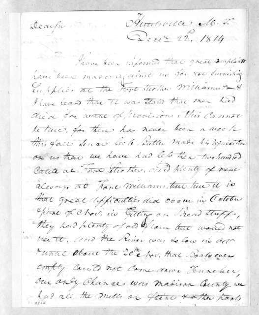 John Brahan to Andrew Jackson, December 22, 1814