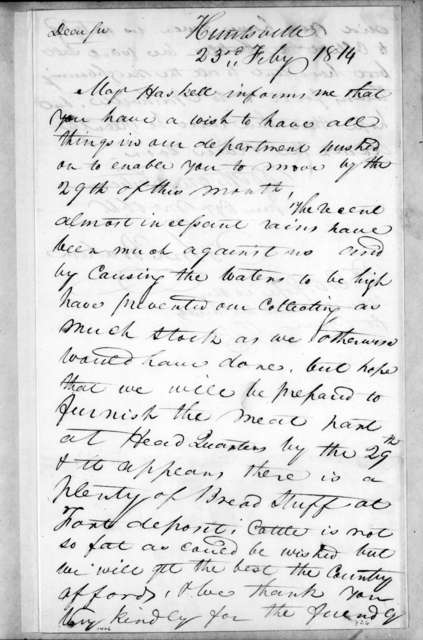 John Brahan to Andrew Jackson, February 23, 1814