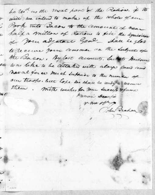 John Brahan to Andrew Jackson, October 31, 1814