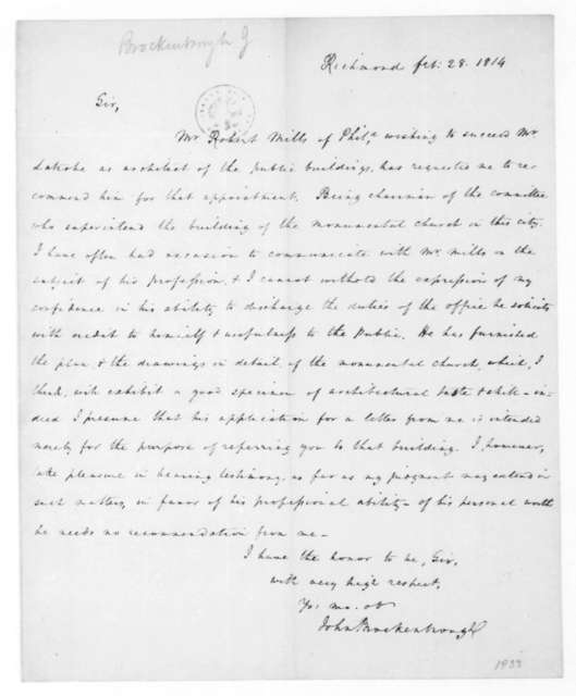 John Brockenbrough to James Madison, February 28, 1814.