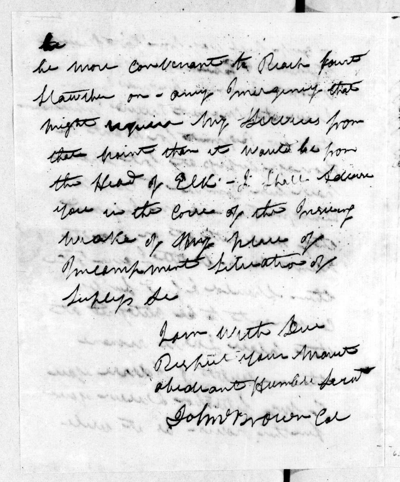 John Brown to Andrew Jackson, February 5, 1814