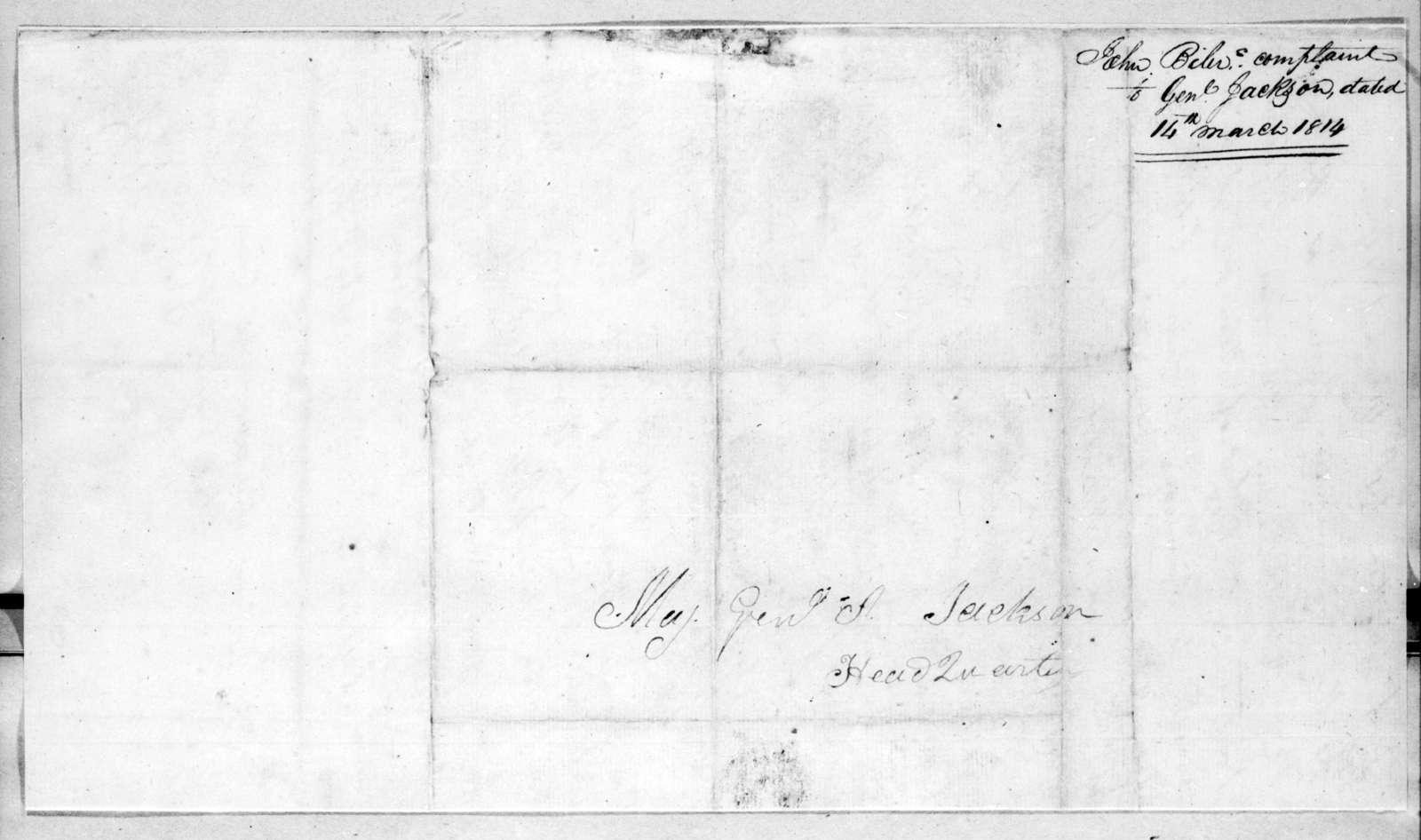 John Byler to Andrew Jackson, March 14, 1814