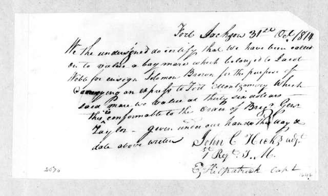 John C. Hicks to E. Kilpatrick, October 31, 1814