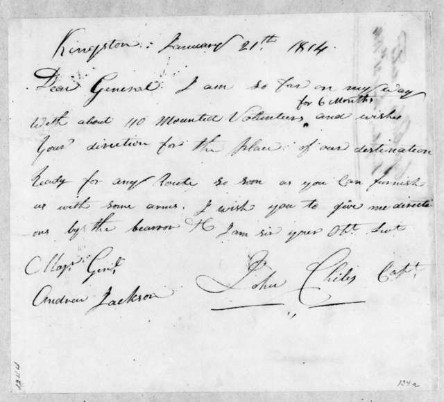 John Chiles to Andrew Jackson, January 21, 1814