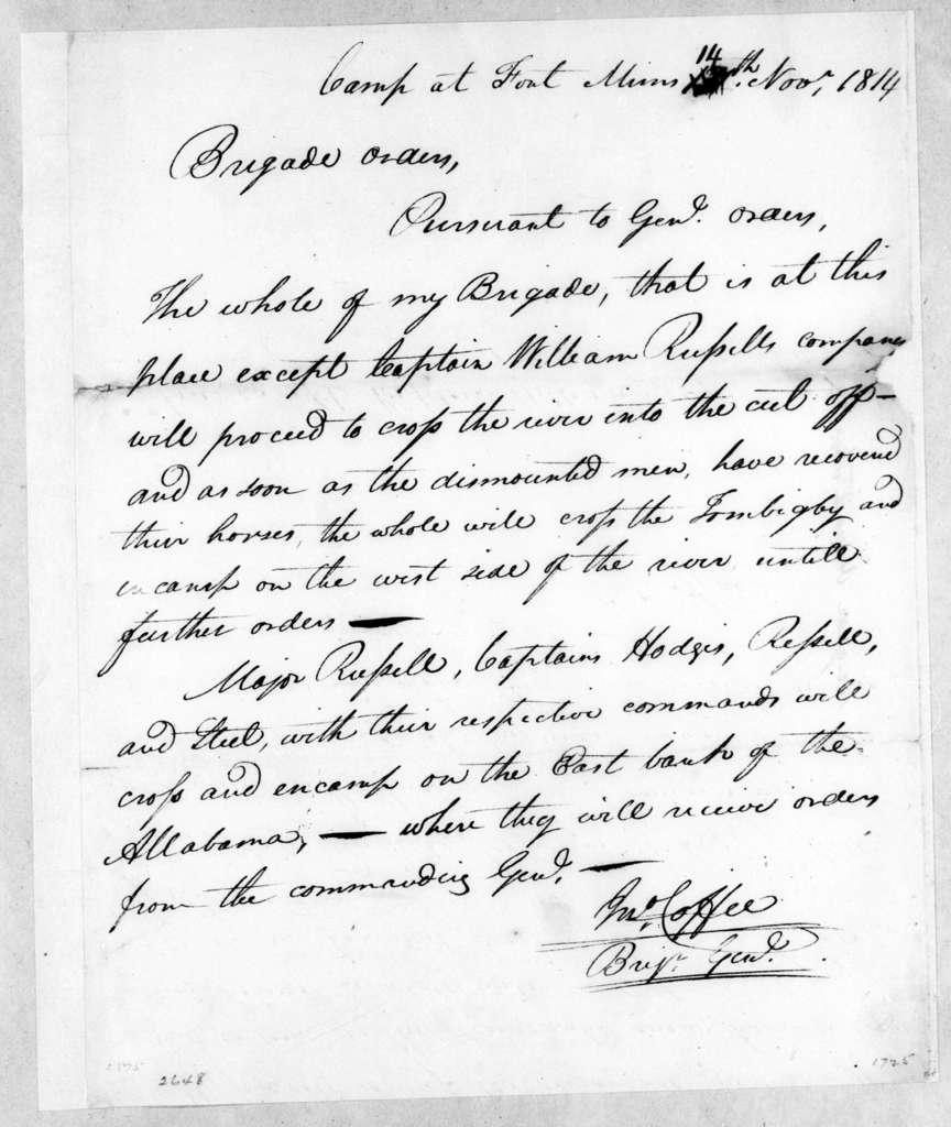 John Coffee, November 14, 1814