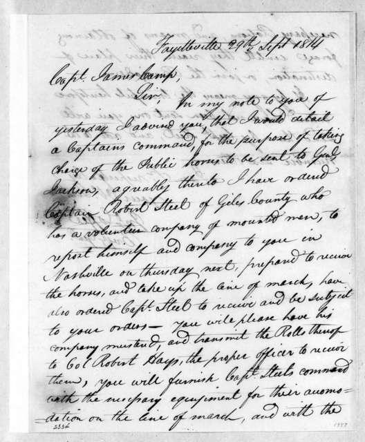John Coffee to James Camp, September 29, 1814
