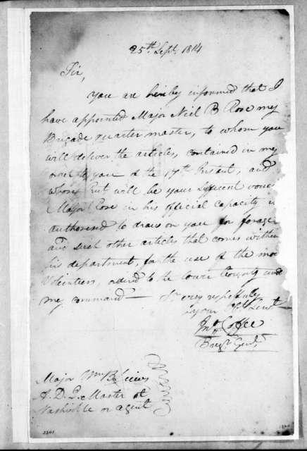 John Coffee to William Berkeley Lewis, September 25, 1814