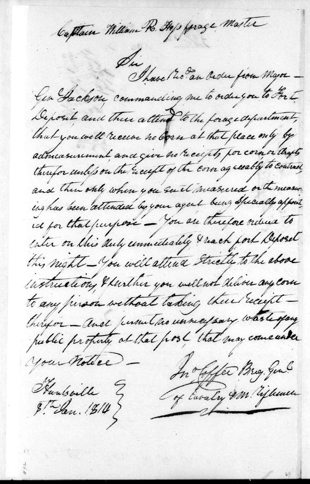 John Coffee to William R. Hess, January 8, 1814