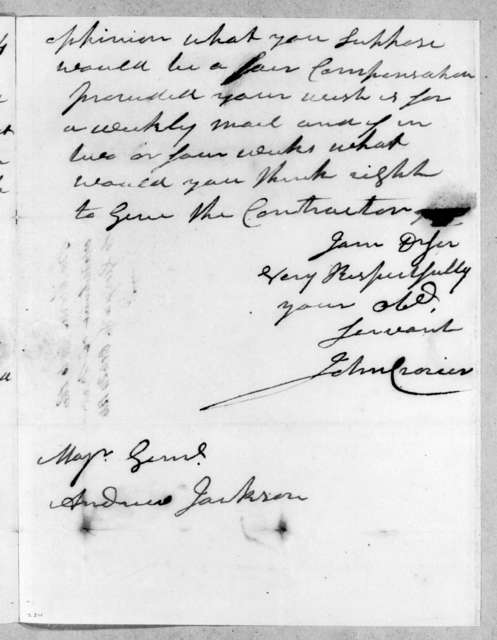 John Crozier to Andrew Jackson, October 24, 1814
